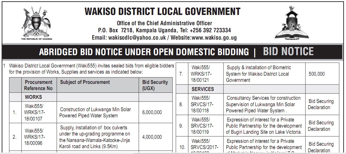 Bid Notice 4th December 2017